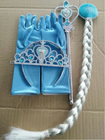 Frozen jewelry Elsa Anna Princess Crown Wig and Magic wand and Gloves Girl's Gift
