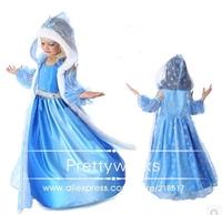 Free shipping 100-140cm New frozen elsa dress anna dress+cape cosplay costume girl  princess halloween Christmas gift  h-0569