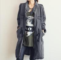 Fashion New Autumn and Winter Women's Denim Windbreaker Jacket Women's Casual Fashion Loose Slim Cardigan Coat Top Free Shipping