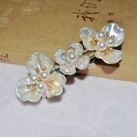 6PCS/Lot Sweet Imitation Pearl Flower Rhinestone Hair Clips Wedding Hair Accessories Hair Barrette For Women&Girls Free Shipping