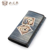 women fashion denim bag high quality new brand denim wallet bear long design Vintage