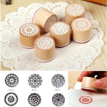 Новый 2014 6 шт. ассорти старинные цветочным узором круглый деревянный штамп записки горячие предложения
