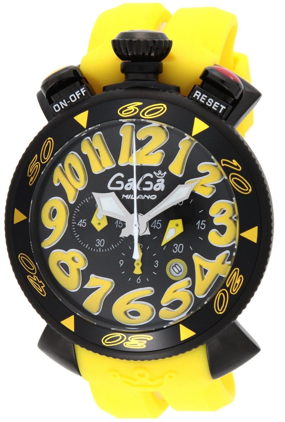 2015 NEW Hot GAGA Chrono 48mm Yellow Men Sport watch Running Cycling Climbing Gaga milano stopwatch gifts Japan 6054.4(China (Mainland))