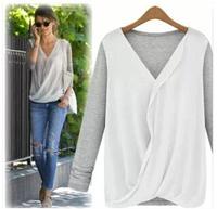 2014 new autumn long sleeve loose chiffon shirt women's stitching knit sweater chiffon blouse women tops free shipping LL1343