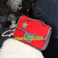 women fashion small sweet lamb wool match denim canvas handbag badge chain shoulder small bags
