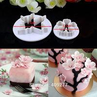 Free shipping 2PCS plum shape mold sugar Arts set Fondant Cake tools/cookie cutters