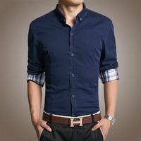 Stylish Fashion Style, 2014 New Fall Upscale Men's Shirts, Slim Fit Korean Casual Men's Cotton Long-sleeved Shirt.
