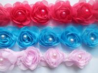 Chiffon Hair Flower lace trim with pearl rose small flower diy decoration hair accessories headband clothing bag collar yard