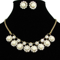 Neoglory Jewelry  anniversay/banquet/party necklace earrings set gold  white/silver white  pearls  NJ-005 Rihood Jewelry    2015