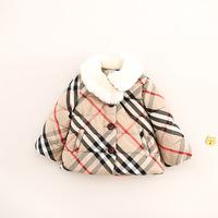 Hot Classic Children Baby Girls Faux Fur Plaid Coat Girls WinterWarm Jacket Snowsuit Free shipping