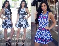 2014 New Fashion Women Print backless dress Off the Shoulder Party Dressvestido de festa