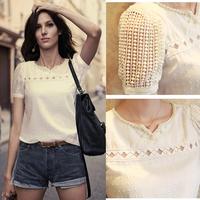 High Quality Chiffon Short Sleeve Slim V Neck Hollow Out Lace Blusa Renda Camisas Femininas Women White Blouse Basic Tops c61
