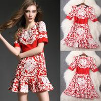 summer dress casual red office dress midi dress print floral ladies ruffles vintage desigual retro robe ete 2015 runway T2888