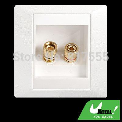 White 1 Speaker 2 Binding Post Banana Jack Wall Face Plate Panel Surround Solder Discount 50(China (Mainland))