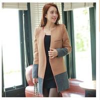 2014 Winter new Korean woolen coat big personality and temperament Slim splicing woolen women coat -O011