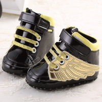 2015 NEW Cute Golden Rings Soft PU Black Leather Baby Boys Girls Fashion Sneakers Infant Bebe Indoor Crib Shoes Toddler Shoes