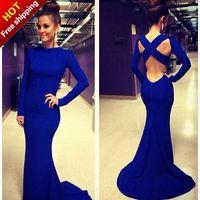 2014 Blue Formal Mermaid Elegant Long Sleeves Party Evening Dress Prom Gown Women back corss Vestidos de Renda Maxi Dress f0039