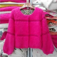 free shipping women 2014 winter short design mink cashmere coat ,pure cashmere sweaters cardigan