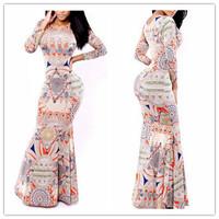 Women's Swallowtail dresses Printed Elegant Maxi Evening dresses Long Sleeve Long Party dress Sexy O-Neck bandage Club dresses