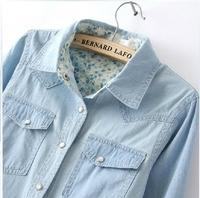 Free Shipping 2014 Women Blouse Spring Autumn Casual Shirts Long Sleeve Denim Cotton Jeans Shirt Casual Women Shirt B-2026
