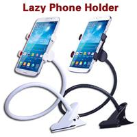 360 degree Flexible Arm mobile phone holder stand Lazy People Bed Desktop tablet mount for iphone 6 for samsung Black