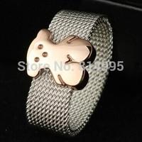 14k gold color bear belt rings