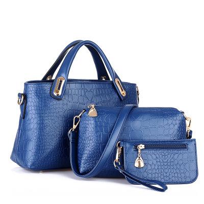 2014 European and American fashion new handbag elegant three-piece handbag wild crocodile pattern handbag buy one get two(China (Mainland))
