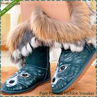 Women's Fox Fur Genuine Leather Hand-painted Graffiti Boots Push Winter Warm Fashion Shoes Woman Size EU35-39 Free Shipping