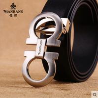 2015 Brand Cowskin belt men Luxury High Quality cowskin strap Designer gold buckle fashion belts Free Shipping MB0240