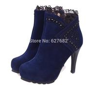 2014 New Autumn Winter Short With Thick Heels Zipper Wild Black Matte Martin Fashion Women Boots Spring High-Heeled Shoes 35-39