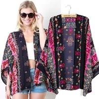 New Fashion Woman's Blouses Retro Print Cardigan Kimono Ladies Half Sleeve Chiffon Shirt B22 CB031409