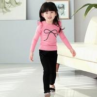 Newly 2014 spring summer girls kids t-shirts cotton long sleeve children t-shirt candy color t shirt 2 Colors SV19 SV008550