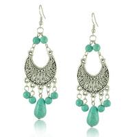 (MOQ USD10) Ethnic Style Tibetan Silver Turquoise Earrings Hollow Out Long Tear Drop Earrings Brincos Wholesale Jewelry