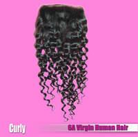 1 piece Brazilian Deep Curly Swiss Lace Closure 8~18 inches EVA Hair Brazilian Virgin Hair Bundles DHL Free Shipping