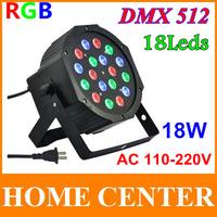 18Leds PAR64 DMX-512 18W AC 110-220V LED DJ Par Light RGB PARTY Disco/Family DJ Stage Lighting