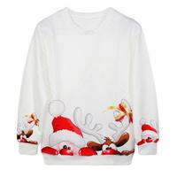 EAST KNITTING G107 Brand 2014 Women Casual Cardigan Harajuku Christmas Deer Print White Sweatshirt Women Pullover Free Shipping