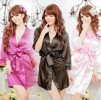 Ladies Sexy Underwear Lingerue Condoble Belt Nighttown Pajamas Robe 3/4 Sleeveless Chiffon Bathrobe Nightdress Sets 22011
