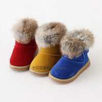 2014 New Winter Snow Boots Baby Boys and Girls 1-3 Years Cotton Shoes Genuine Leather and Real Rabbit Fur on the Ankle!