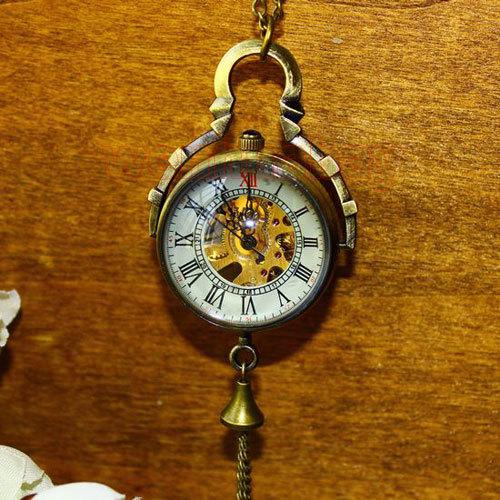 Steampunk Transparent Glass Ball Mechanical Pendant Pocket Watch Chain New P100(China (Mainland))