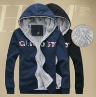 2014 new hood sweatshirt male autumn and winter slim plus velvet thickening cardigan sweatshirt outerwear men's clothing
