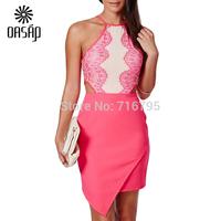 OASAP 2015 Summer Sexy  Dresses Women Pink Eyelash Lace Bellyband Bodycon Dress Vestidos  Free Shipping
