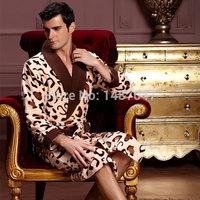 Hot Sale Bathrobe Men Solid Polyester V-Neck Natural Color kingurumi Pajamas Adult Costume plus size satin nightgown Pajamas Set