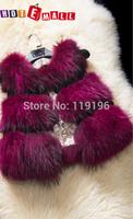 Free shipping 2014 fashion New arrival women genuine leather real natural raccoonn Fur vest short design medium-long vest