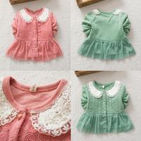 Infant Toddler Kids Girl Pearl Lace Peter Pan Collar Floral Coat Tops Jacket