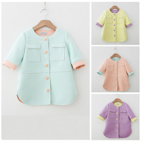 Fashion Kids Girl Baby Graceful Collarless Candy Color Pocket Button Coat Jacket