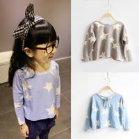 Autumn 2-7Y Kids Girls Casual Loose Stars Print Long Sleeve Crewneck T-Shirts