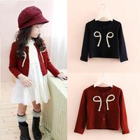 Fashion 1-5Y Kids Girls Woolen Long Sleeve Front Outwear Bow-knot Button Jacket