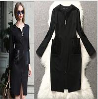High end autumn winter women black casual dress European American style plus sizes office women dress, vestido para gordas