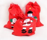 10pcs/lots Free shipping non-woven Christmas gift bag Red XMAS Santa goody bag lint Santa Claus backpack