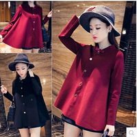 E-Unique New 2014 Autumn Elegant A Cloak Loose Top Cute Bow Long-Sleeve Outerwear Women Sweater Plus Size Wine Red Black WWB23